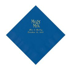 Cobalt Blue Mr. & Mrs. Personalized Napkins with Gold Ink - Luncheon