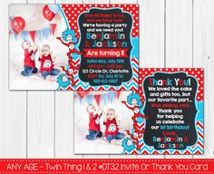 Dr. Seuss  Thing 1 and Thing 2 Twins by PeriwinklePapery on Etsy