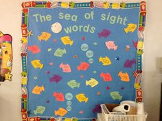 Week Start a sight word bulletin board to use throughout the entire year (much cuter than a plain list :) ) Phonics Bulletin Board, Fish Bulletin Boards, Kindergarten Bulletin Boards, Teacher Bulletin Boards, Reading Bulletin Boards, Nursery Class Decoration, Classroom Wall Decor, Classroom Themes, Class Displays