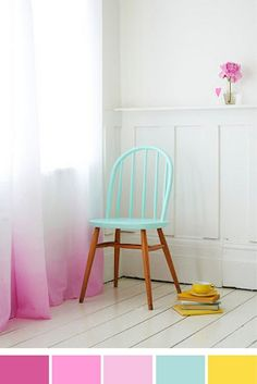 This color scheme is as refreshing as raspberry-lemon sorbet sprigged with mint on a hot summer day. Plus, those dip-dye curtains and painted chair are to die for! This pastel loveliness was styled by Charlotte Love and photographed by Jonathan Gooch. You can check out more from their photo shoot on Charlotte's blog.
