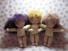 https://flic.kr/p/aUqLxK | JenniferVioletVirginia1 | Now we are!  Violet on the left, Virginia in the middle, Jennifer on the right.  Pattern for the knit doll available free on my blog at:  www.byhookbyhand.blogspot.com
