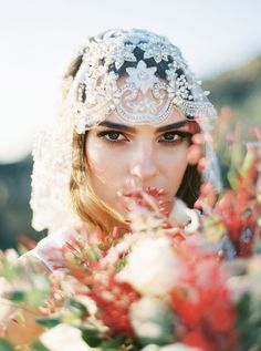 Embroidered Bridal Veil Mantilla with Crystals Style is handcrafted on fine bridal tulle embroidered with crystals in floral fashion-one of heirloom wedding veils by Bride La Boheme Wedding Braids, Headpiece Wedding, Bridal Headpieces, Wedding Hairstyles For Long Hair, Wedding Hair And Makeup, Bride Accessories, Bridal Sash, Bridal Style, Veil