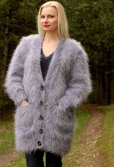 Fluffy V neck long mohair cardigan SuperTanya Mohair Yarn, Mohair Sweater, Sweater Coats, Women's Sweaters, Cardigans, Icelandic Sweaters, S Models, Shawls And Wraps, Hand Warmers