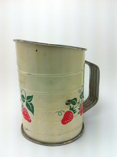 Vintage Strawberry Metal Flour Sifter.