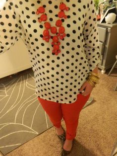 Red bubble necklace with polka dots