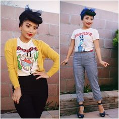 Two very adorable outfits brought to you by @myriamxn. Tops are available on Suavecita.com. #SuavecitaPomade #Suavecita #Pomade #SuavecitaApparel #Vintage #Retro #Bumperbangs #Bangs #Vintagehair #Ootd #Hotd #Love #Suavecitabeauty #Beauty