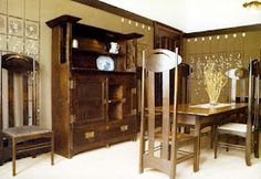 Charles Rennie Mackintosh - The Mackintosh's dining room at their house at 78 South Park reconstructed at the Hunterian Museum, Glasgow Art Nouveau, Art And Craft Design, Art Deco Design, Bauhaus, Charles Rennie Mackintosh Designs, Charles Mackintosh, Mackintosh Furniture, Mackintosh Chair, Glasgow School Of Art