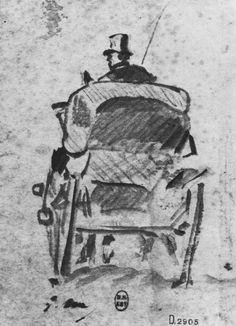A horse drawn carriage as seen by Manet.