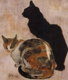 Two Cats, Theophile Steinlen. Théophile Alexandre Steinlen, frequently referred to as just Steinlen (Nov 10, 1859–Dec 13, 1923), Swiss-born French Art Nouveau painter and printmaker. He painted landscapes, flowers, nudes, and cats, for which he had a great fondness. He often painted the harsher aspects of life in Montmontre, where he lived, and did magazine illustrations under a pseudonym because of their harsh criticisms of societal ills.