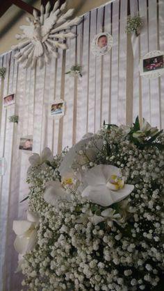 Cortina de fotos - decoração - orquídea - doile -  diy