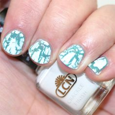 Crackle Nail Polish Combinated White And Blue Design Ideas Inspiration