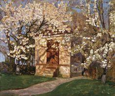 Alhed Larsen (1872 - 1927)  Havehust med Blomstrende Kirsebær