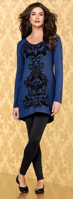 Designed for all-day comfort with cozy long raglan sleeves and a scrolling velvety flocked print.