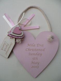 Girls wooden christening heart.