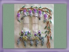 how to embroider a silk ribbon window, wisteria and iris picture