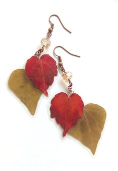 Real Flower Jewelry Leaf Earrings Botanical Jewelry от FlowerPoems