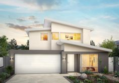 The Appeal is an affordable single or double storey 4 bed 2 bath home cleverly designed to suit smaller blocks. Double Storey House, 2 Storey House Design, House Roof, Facade House, Facade Design, Exterior Design, Mid Century Modern Colors, Home Building Companies, Modern House Facades