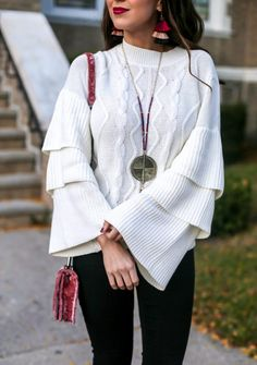 Tiered Cable Knit Sw