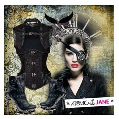 """ATOMIC JANE"" by atomic-jane ❤ liked on Polyvore featuring ootd, steampunk, atomicjaneclothing and blackcorset"