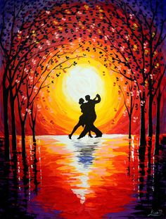 63 Trendy dancing silhouette couple romantic - Fitness and Exercises, Outdoor Sport and Winter Sport Couple Painting, Couple Art, Acrylic Painting Canvas, Canvas Art, Painting Abstract, Painting Art, Tango Art, Dance Paintings, Oil Pastel Art