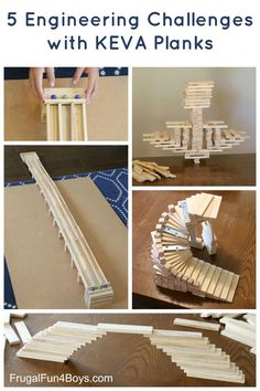 Five Engineering Challenges with KEVA Planks Fun STEM Activity for Kids: Five Engineering Challenges with KEVA Planks. KEVA Planks are simple wooden building blocks that are so versatile and appeal to just about any age. Engineering Challenges, Engineering Projects, Stem Challenges, Stem Projects, Physics Projects, Kid Projects, Stem Science, Science For Kids, Science Games