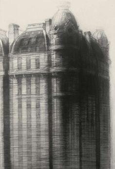 Cornerstone, x charcoal on paper, 1992 Richard Bunkall Building Art, Building Facade, Charcoal Drawing, Urban Landscape, American Artists, Silhouette, Printmaking, Art Drawings, Illustration Art