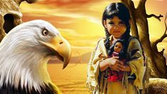 2017 home office TOP ART-American eagle and Indian native girl art oil painting print work--good quality PAINTING on canvas Native American Children, Native American Flute, Native American Pictures, Native American Wisdom, Native American History, Native American Indians, American Indian Art, American Pride, American Quotes