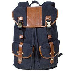 KAUKKO Classical Knapsack Bags Canvas Retro Rucksack Travel Daypack Satchel Bag Black -- Click image for more details. Rucksack Backpack, Canvas Backpack, Laptop Backpack, Leather Backpack, Best Kids Backpacks, Travel Luggage, Canvas Leather, School Bags, Unisex