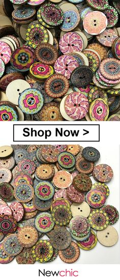 100 Pcs Retro Style Wooden Sewing Buttons Washable Circle Flower Pattern Decoration Buttons is part of Wooden Button crafts I love those fashionable and beautiful Sewing from Newchic com Find the m - Button Art, Button Crafts, Mothers Day Crafts, Crafts For Kids, Craft Projects, Sewing Projects, Sewing Crafts, Diy Crafts, Pattern And Decoration