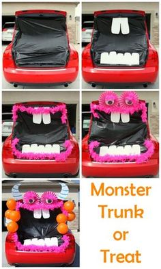 Easy Trunk or Treat Decorations - You'll have the best Halloween car decorations on the block! Silly, a little spooky and a whole lot of fun! This monster themed Trunk or Treat will be the best on the block! Holidays Halloween, Halloween Treats, Halloween Diy, Halloween Flowers, Halloween 2017, Happy Halloween, Christmas Holidays, Trunk Or Treat, Trunker Treat Ideas