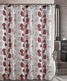 "Shower Curtain- Sydney Red Embossed Microfiber - 72""x 72"""