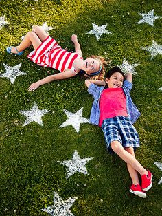 Fun for the kids to do...A Star-Spangled Yard: Give your lawn some flour power this Fourth of July with a simple stencil and a dusting of flour.