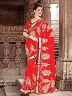 Red Chiffon Saree With Embroidery Work www.saree.com
