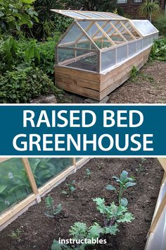 A raised bed greenhouse gives you a place to grow vegetables that is safe from chickens, cats, squirrels, and caterpillars. Diy Greenhouse Plans, Greenhouse Farming, Homemade Greenhouse, Lean To Greenhouse, Backyard Greenhouse, Greenhouse Gardening, Greenhouse Vegetables, Backyard Planters, Underground Greenhouse