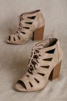 women's taupe lace up peep toe cut out block heels