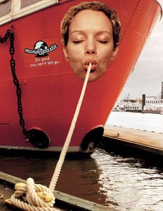 To get Mondo Pasta on everyone's mind, Jung von Matt, advertising agency from Germany created a bigger than life promotion at the most frequented place in Hamburg: the harbor. Huge stickers of faces turned ships into permanent pasta slurpers. (Advertising Agency: Jung von Matt, Germany)