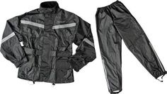 Fly Rain: Sized to fit over a riding jacket, so order the same size as the jacket it is going over.   High-quality polyester shell construction with slick inner liner makes putting the suit on a breeze.  Removable shoe straps hold the pants down to keep water from blowing up your leg.  Rear vents help remove hot air to keep you drier.  Reflective back logo and reflective stripes on chest, back, and arms help visibility.  Free stuff sack included.