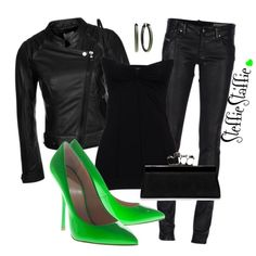 Love the all Black with the green heels