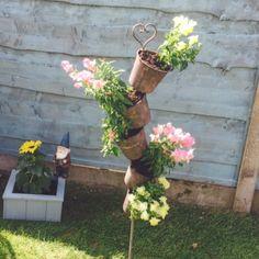 Cute little planters from The Tin Snail near Clitheroe :-) #shabbychicgarden #pretty #plants #thetinsnail