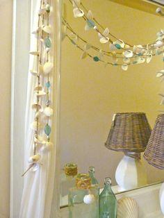 Glass bottles & shell & glass garland