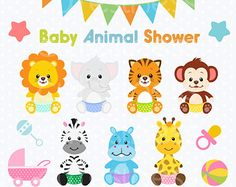 Jungle Animal Clipart Baby Animals Clipart Safari por Cutesiness