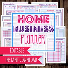 Home Business Planner-Printable Home Business, Etsy Business Planner, Work at Home Organization-29 Documents-INSTANT DOWNLOAD & EDITABLE