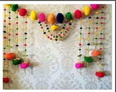 3 feet wide Handmade colorful pompom Door valance Indian Toran   Etsy Door Hanging Decorations, Diy Diwali Decorations, Indian Wedding Decorations, Flower Decorations, Diwali Craft, Diwali Diya, Ganpati Decoration At Home, Pom Pom Mobile, Indian Doors
