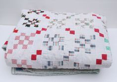 Vintage Handmade 16 Patch Quilt  Patchwork by TheMixingBowlOnline, $145.00