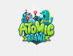 Creative Illustration, Atomic, Brawl, Vector, and Robot image ideas & inspiration on Designspiration 2 Logo, Bold Logo, Typography Logo, Bg Design, Game Logo Design, Graphic Design, Game Font, Game Ui, Video Game Logos