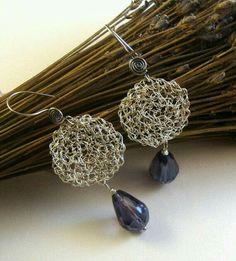 Lace+crochet+wire+dangle+earrings+purple+glass+beads+by+dekkoline -- beautiful. Wire Wrapped Jewelry, Wire Jewelry, Jewelry Crafts, Beaded Jewelry, Handmade Jewelry, Jewellery, Wire Earrings, Round Earrings, Crochet Earrings