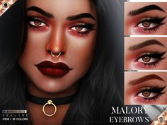 Malory Eyebrows by Praline Sims for The Sims 4 – Makeup Hair The Sims 4, The Sims 4 Skin, The Sims 4 Pc, Sims Hair, Sims 4 Cas, My Sims, Sims Cc, Sims 4 Black Hair, Sims 4 Cc Eyes