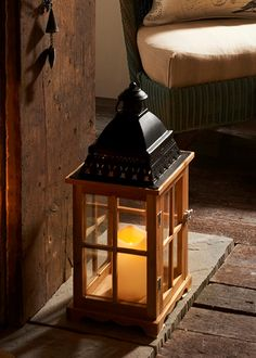 Metal Top LED Wood Lantern (42cm x 19cm) - Matalan