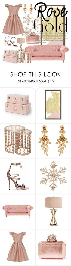 """""""Challenge: Rose Gold"""" by kikiseppr ❤ liked on Polyvore featuring West Elm, Oscar de la Renta, John Lewis, Catalina, Chi Chi and Jimmy Choo"""