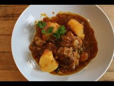 """Braised Lamb with Potatoes in Tomatoes (Arni Kokkinisto Me Patates) - """"Dimitra's Dishes"""" Lamb Recipes, Greek Recipes, Real Food Recipes, Greek Meals, Cooking Recipes, Beef And Potatoes, Stewed Potatoes, Greek Cooking, Cooking For A Crowd"""